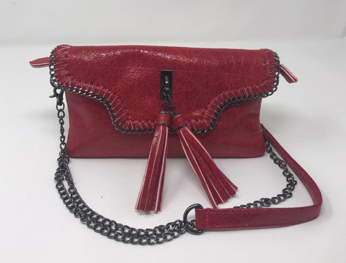 Sondra Roberts Red Crossbody With Link Chain