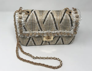 Sondra Roberts Straw Purse With Wood Beading