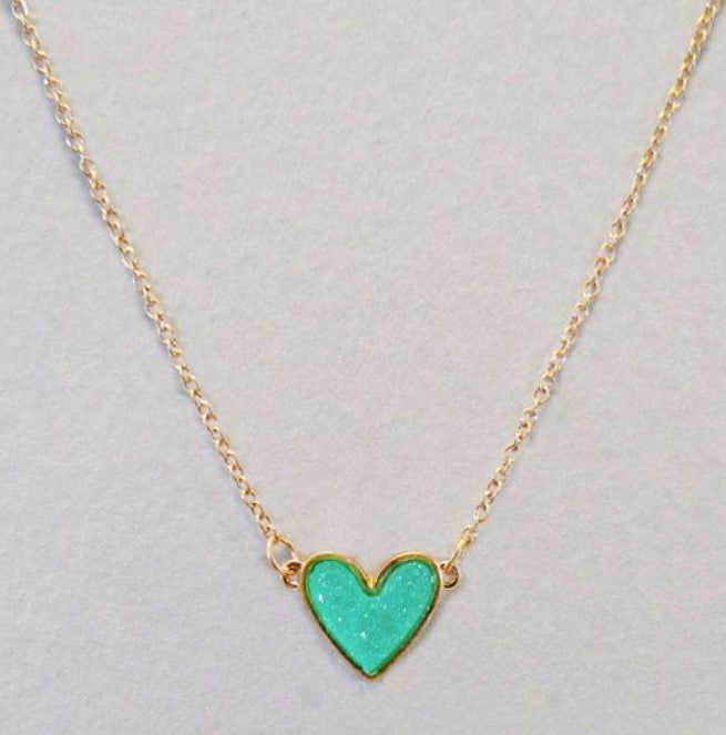 Dainty Heart Necklace - Gold tone & mint druzy