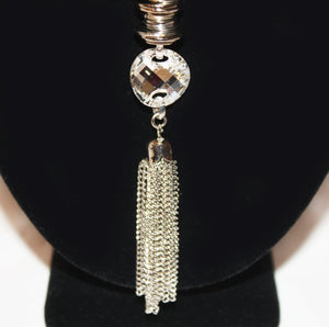 B-JWLD Long Silver Tassel Necklace