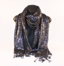Load image into Gallery viewer, Metallic Charcoal Scarf