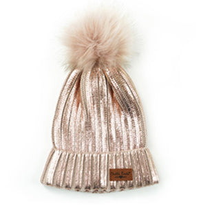 Metallic Knit Pom Hat - Pink