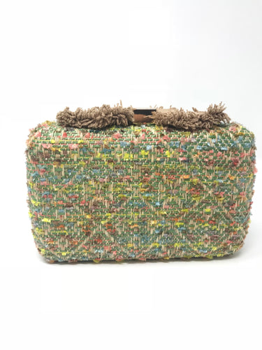 Sondra Roberts Green & Yellow Crossbody Clutch