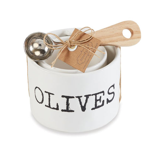 Olive & Pits Dish Set with Spoon