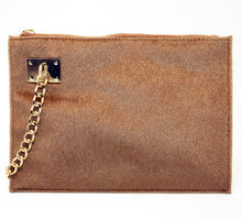 Load image into Gallery viewer, Sondra Roberts Brown Fur Wristlet
