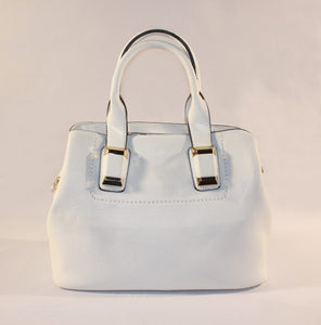 Sondra Roberts White Pebbled Nappa Satchel