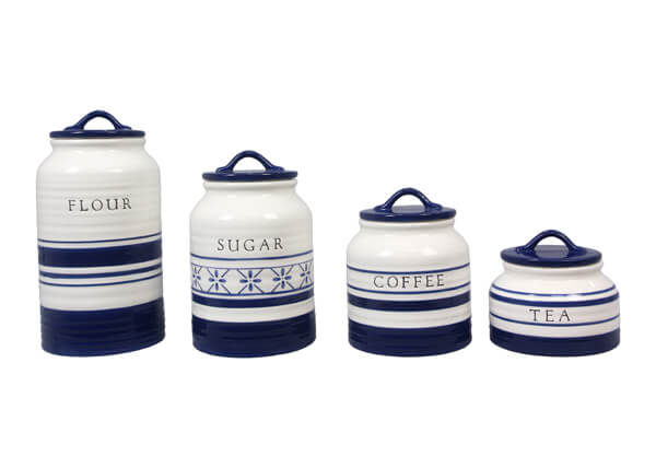 Ceramic Canister Set of 4 in Blue and White