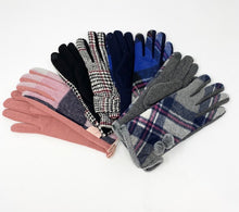 Load image into Gallery viewer, Gray, Navy, Pink Checkered Touch Sensitive Gloves