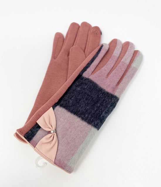 Women's Pink & Orange with Bow, Touch Sensitive Gloves