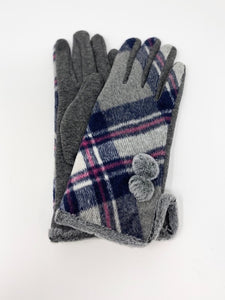Gray, Navy, Pink Checkered Touch Sensitive Gloves