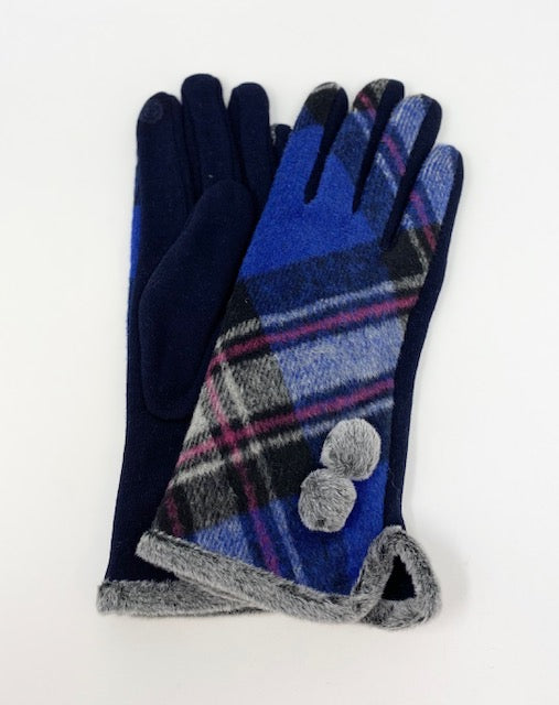 Blue Checkered Touch Sensitive Gloves
