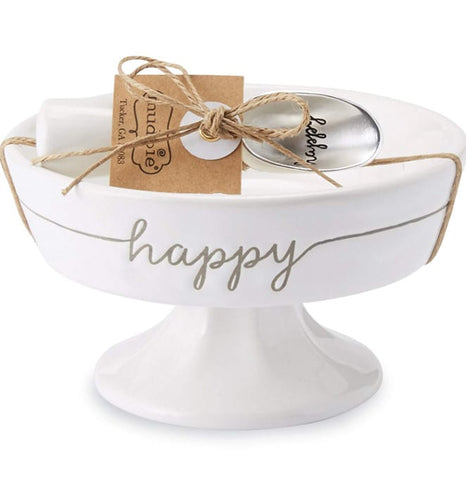 Mud Pie Happy Pedestal Candy Dish Set