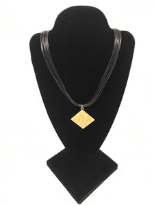 B-JWLD Corded Necklace with Large Crystal Pendant - Black/Gold