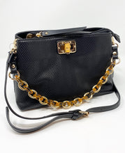 Load image into Gallery viewer, Sondra Roberts Squared Crossbody w/ Tortoise Shell Chain - Black