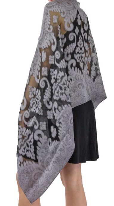 Dressy Cut-out Shawl - Grey/Sheer Black