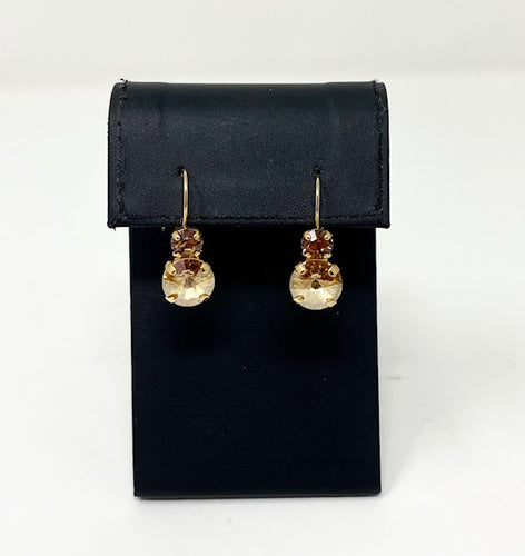 B-JWLD Gold Dangly Topaz Crystal Earrings