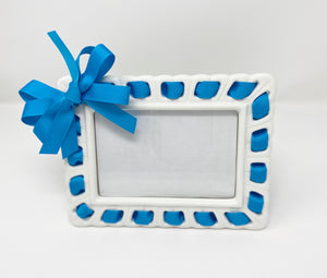 Prissy Plates Frame with Blue Ribbon