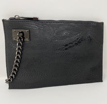 Load image into Gallery viewer, Sonra Roberts Squared Black Vegan Lizard Wristlet