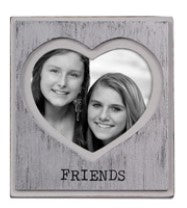 "Heart Shaped ""Friends"" Mini Photo Frame - Silver Painted"