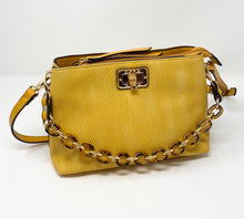 Load image into Gallery viewer, Sondra Roberts Squared Crossbody w/ Tortoise Shell Chain - Yellow