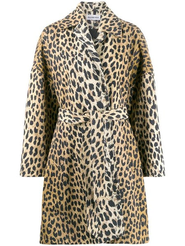 Balenciaga Leopard Cotton Drill Oversized Coat