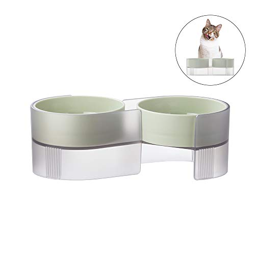 Pidan Double Cat Bowls with Stand