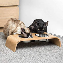 Load image into Gallery viewer, Valiai Wooden Elevated Stand for Cat's Healthier Eating Posture with Bowls