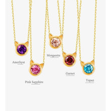 Load image into Gallery viewer, Carleen 14k Solid Yellow Gold Round 0.4ct Amethyst Cat Ear Pendant