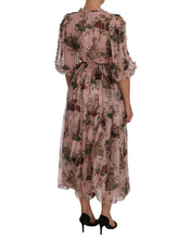 Load image into Gallery viewer, Dolce & Gabbana Silk Pink Bengal Cat Shift Wrap Gown