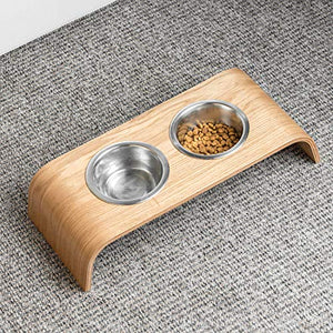 Valiai Wooden Elevated Stand for Cat's Healthier Eating Posture with Bowls