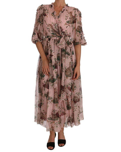 Dolce & Gabbana Silk Pink Bengal Cat Shift Wrap Gown