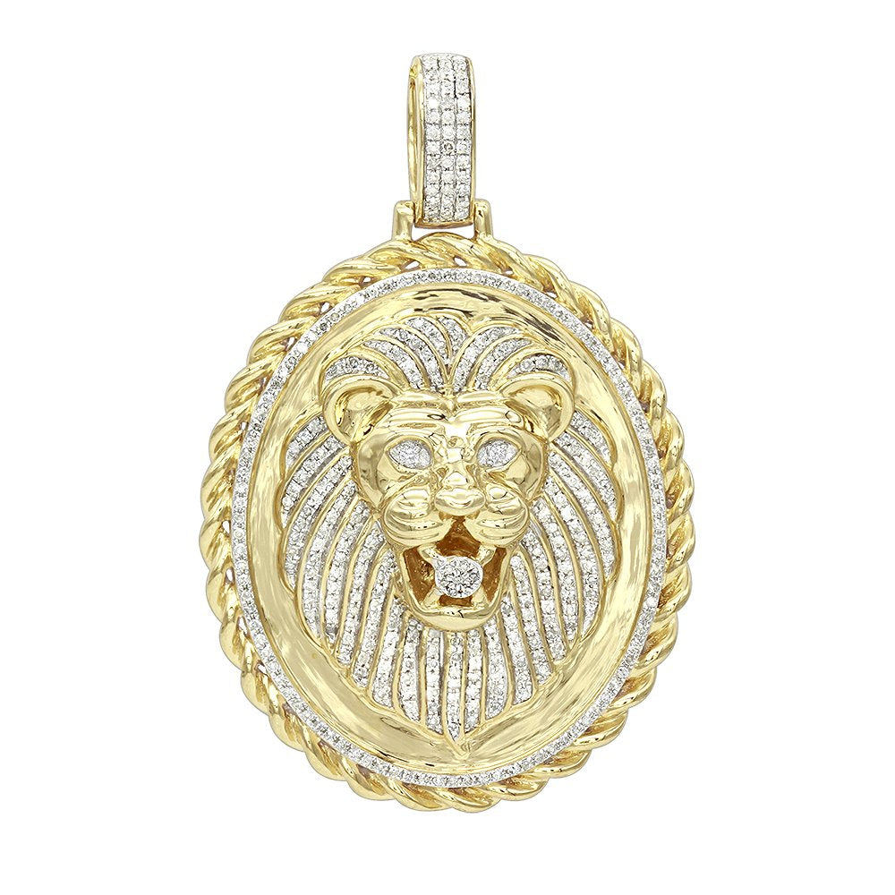 Men's Medallion 14K Rose, White or Yellow Gold Real Diamond Lions Head Pendant 1ctw