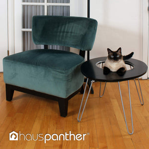 Primetime Petz Hauspanther Nestegg - Raised Cat Bed & Side Table, Black