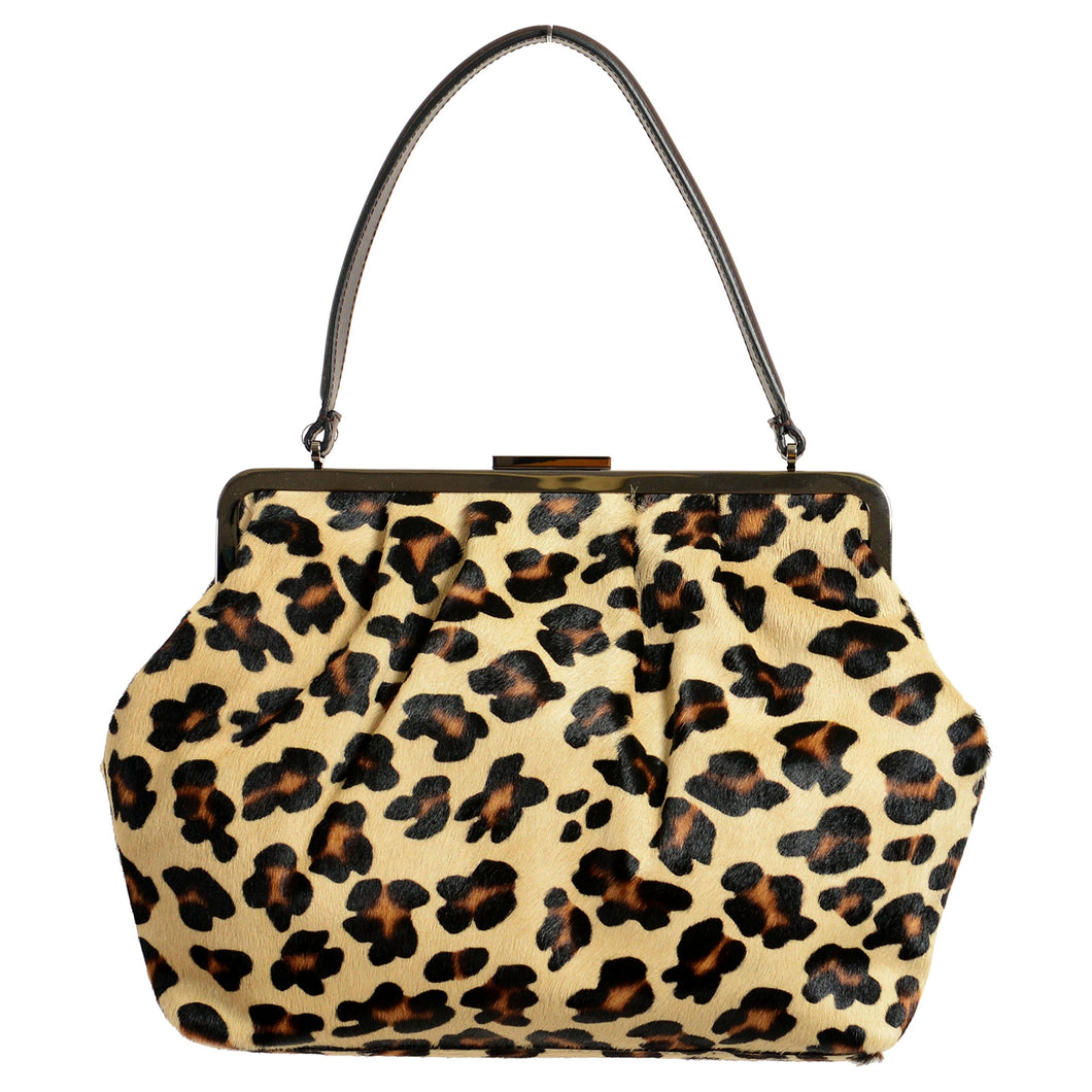 Red Valentino Leopard Printed Pony Hair Women's Clasp Handbag Shoulder Bag