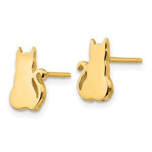 Cat Silhouette Earrings 14k Yellow Gold