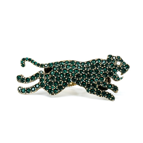 Gucci Two Finger Panther Ring Green Size IT14/ US 6¼