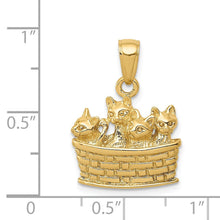 Load image into Gallery viewer, 14k Yellow Gold 3D Basket of Kittens Pendant