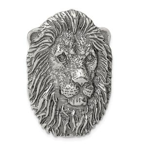 925 Sterling Silver Large Antiqued Lion's Head Pendant