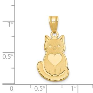 14k Yellow Gold Cat Pendant