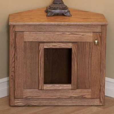 Amish Made Corner Cat Litterbox Cabinet