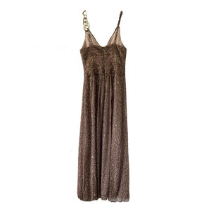 BCBGMaxazria Gold Leopard Print  Silk Gown Dress