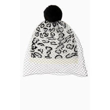 Load image into Gallery viewer, BCBGMaxazria Leopard Print Knit Beanie Hat with Sheer Veil Overlay