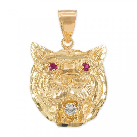 Tiger Head Charm Pendant Necklace in 9ct Gold