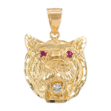 Load image into Gallery viewer, Tiger Head Charm Pendant Necklace in 9ct Gold
