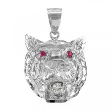 Load image into Gallery viewer, Tiger Head Charm Pendant Necklace in 9ct White Gold