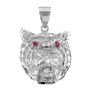 Tiger Head Charm Pendant Necklace in 9ct White Gold
