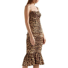 Load image into Gallery viewer, Dolce & Gabbana Ruched Leopard Print Silk Cady Midi Dress