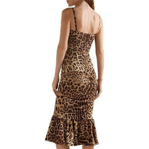 Dolce & Gabbana Ruched Leopard Print Silk Cady Midi Dress