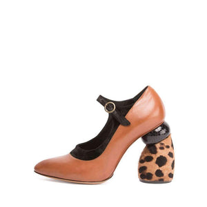 Dries Van Noten Camel Leopard Leather Mary Jane Shoes