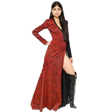 Load image into Gallery viewer, Fausto Puglisi Red Leopard Print Stretch Silk Gown